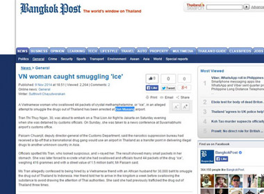 Một phụ nữ Việt nuốt trọn 44 gói ma túy bị bắt tại Thái