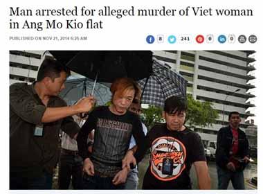 Phụ nữ Việt bị giết ở Singapore
