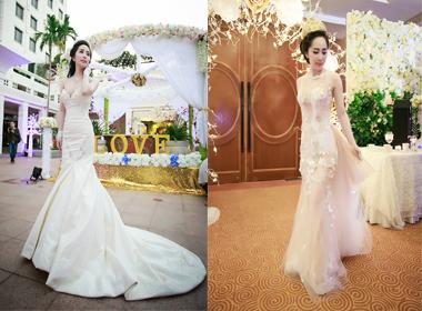 Cận cảnh những bộ váy cưới trị giá 15000 USD của Quỳnh Nga trong hôn lễ
