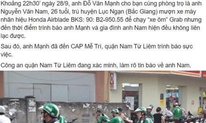 Sự thực về tài xế Grab ở Hà Nội mất tích nhiều ngày