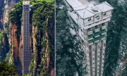 Choáng ngợp với chiếc thang máy ngoài trời cao nhất thế giới giữa trùng điệp núi non