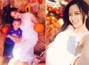 Hoa hậu Diễm Hương khệ nệ bụng bầu đi chơi Halloween
