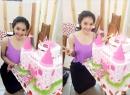 Á hậu Linh Chi hạnh phúc đón sinh nhật ở trường quay