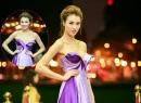 Hồng Quế lộ nét hao gầy khi diện đầm dạ hội sắc tím