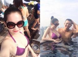 Hậu tin đồn ngáo đá, Ngọc Trinh mặc đồ bơi hở bạo tại Singapore