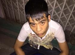 141 bắt thanh niên có tiền án mang ma túy trên xe taxi