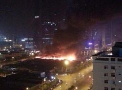 Video đám cháy ngùn ngụt gần tòa nhà Keangnam