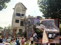 Nhà 4 tầng đang hoàn thiện bất ngờ đổ sập