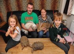 Cả gia đình chung sống với... 145 con vật kỳ lạ
