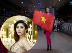 Đặng Thu Thảo mang cờ đỏ dự thi Hoa hậu Quốc tế tại Nhật