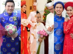 Những chú rể showbiz mặc áo dài trong lễ cưới