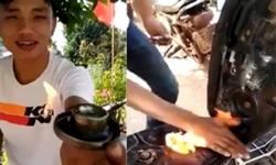 Clip nam thanh niên dùng bật lửa đốt bình xăng