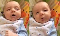 Clip cậu nhóc 7 tuần tuổi nói chuyện với bố mẹ gây sốt trên mạng