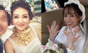 Những cô dâu nổi tiếng đeo vàng trĩu cổ, tiền tiêu 'cả quyển' trong năm 2019