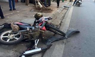 Hà Nội: Va chạm xe máy, ô tô húc gãy cây