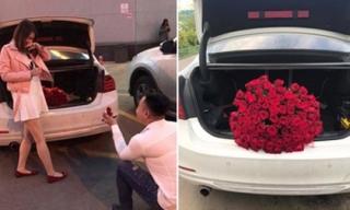 Chuyện tình vượt thử thách phía sau màn cầu hôn với 101 đóa hồng bên xe sang BMW