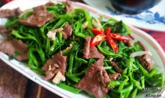 Thịt bò xào rau muống quen mà vẫn ngon