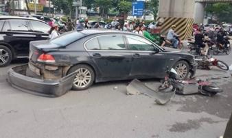 Nữ tài xế lái BMW đâm liên hoàn trên đường Hà Nội