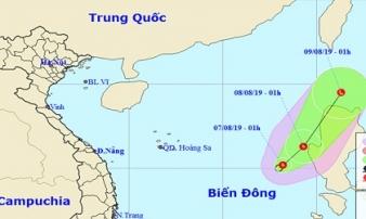 Áp thấp nhiệt đới giật cấp 8 trên Biển Đông, di chuyển hướng Đông Bắc