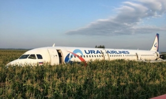 Chim lao vào động cơ, máy bay đáp bằng bụng xuống cánh đồng ở Nga