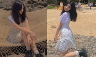 Tiểu thư út nhà MC Quyền Linh khoe nhan sắc tuổi 13 cực xinh, đôi chân dài như người mẫu tạo điểm nhấn