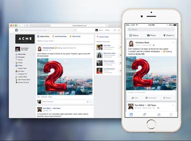 Giao diện Facebook at Work trên di động và PC