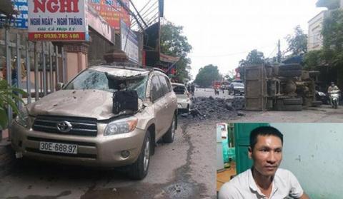 Cú đánh lái quá gấp và dũng cảm của anh Tiến (ảnh nhỏ) để cứu hai nữ sinh khiến những chiếc xe gần đó bị hư hỏng nặng.