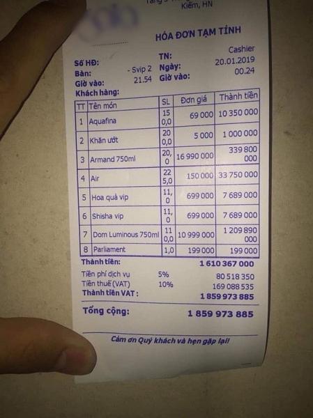Một đêm chơi bar đốt 2 tỷ: Choáng độ chơi đại gia Hà Thành
