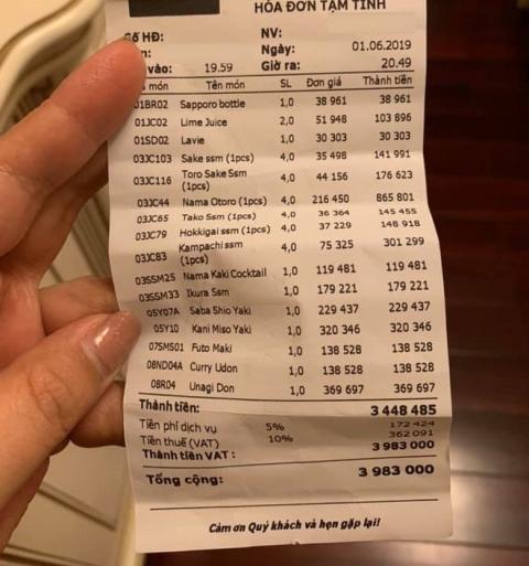 Khách 'tố' đi ăn sushi 7 triệu, riêng tiền trà 1 triệu: Nhân Sushi Kim Mã phản ứng bất ngờ - 1