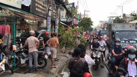TP.HCM: Ô tô tông nhiều xe máy nằm la liệt, làm gãy cây xanh và khiến cửa hàng bị hư hỏng - 2