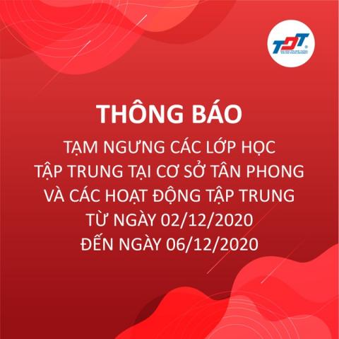 Thông báo nghỉ học của trường ĐH Tôn Đức Thắng ở cơ sở Tân Phong.