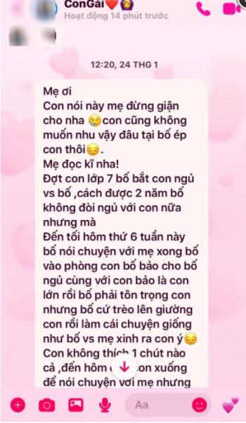 Tin nhắn được chụp lại ở điện thoại của mẹ nữ sinh