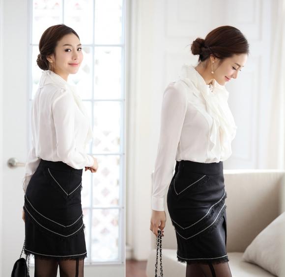 Sơ mi nữ 2012 và cách phối màu trắng - đen đẹp mắt