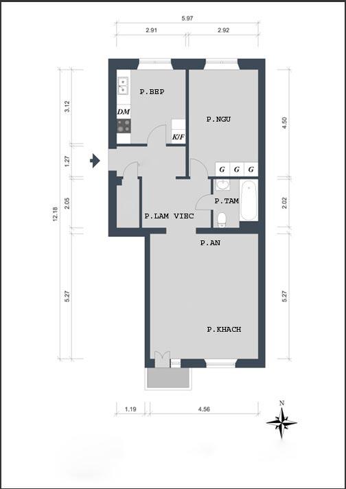 Bài trí căn hộ 61m2 thoải mái, thanh lịch