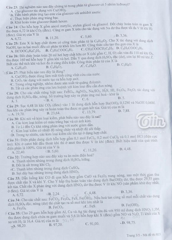 Đề thi môn Hóa học khối B - 2012