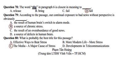 Đáp án đề thi môn Tiếng Anh khối A1, D1 kỳ thi cao đẳng 2012
