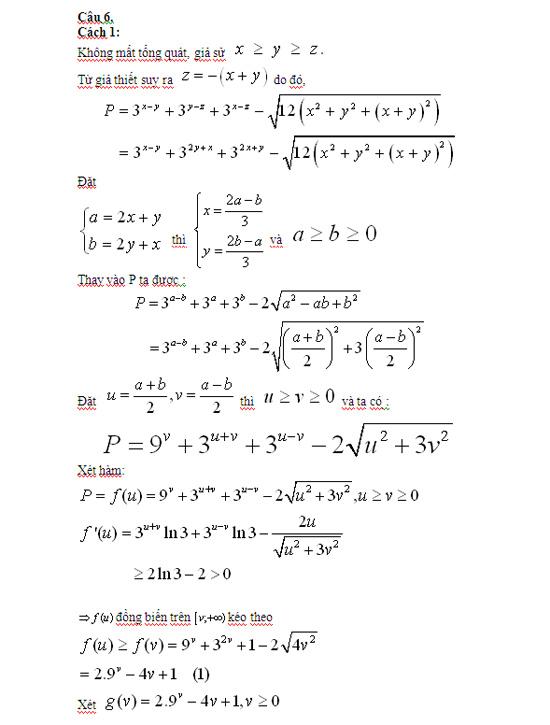 Đáp án đề thi đại học môn Toán khối A - 2012
