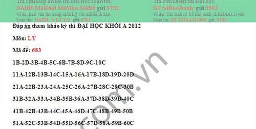 Đáp án đề thi đại học môn Vật lý khối A - 2012