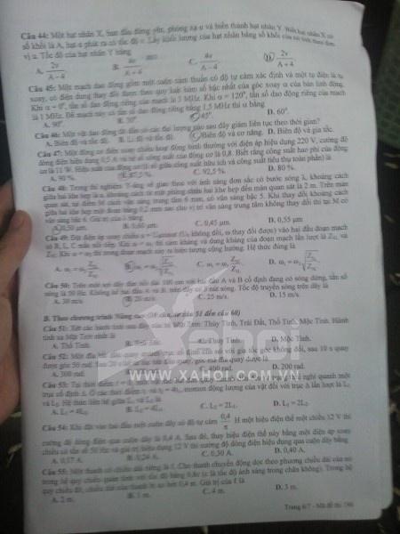 Đề thi chính thức môn Vật Lý khối A - 2012