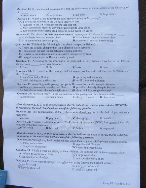 Đề thi môn Anh Văn khối A1 - 2012