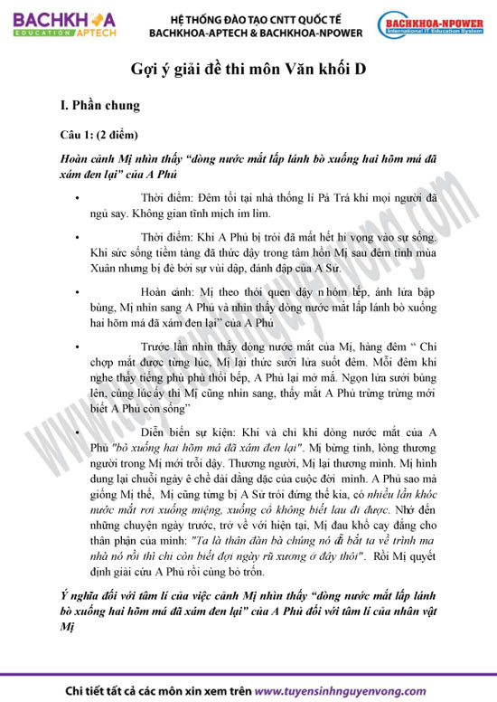 Đáp án đề thi đại học môn Ngữ văn - khối D 2012