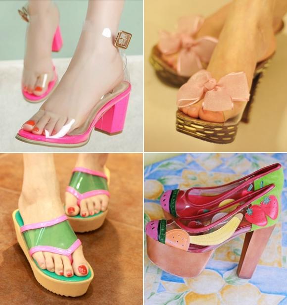 Giày trong suốt nâng gót bạn gái yêu kiều