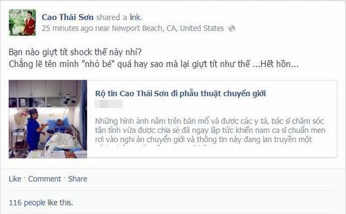 Cao Thái Sơn bác bỏ tin đồn phẫu thuật chuyển giới