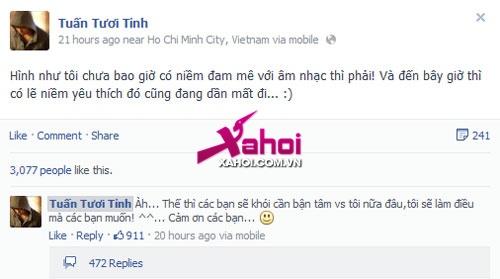 Soi Facebook Sao Việt (P1): Bùi Anh Tuấn chán làm Sao, Thái Trinh thích lấy chồng