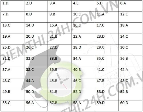 Gợi ý đáp án đề thi Đại học môn Vật lý năm 2013 khối A, A1 và V