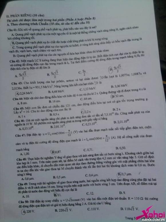 Đề thi Đại học môn Vật lý năm 2013 khối A, A1 và V