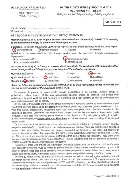Gợi ý đáp án đề thi môn Anh khối D năm 2013