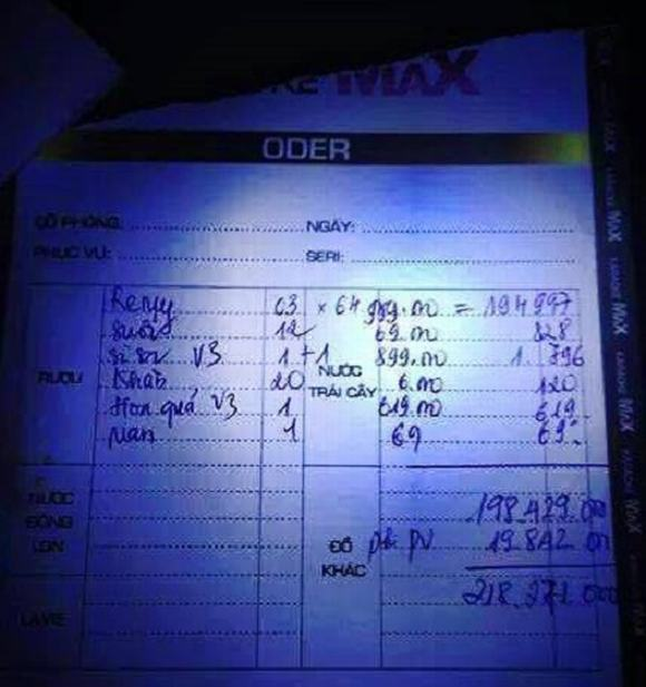 hoa don di bar, hoa don 400 trieu, hoa don tien di bar, hoa don thanh toan tien ruou