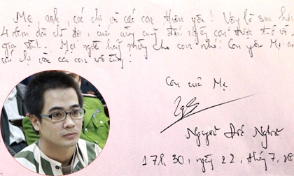 Những bức thư đẫm lệ của tử tù gửi cho người thân trước giờ thi hành án