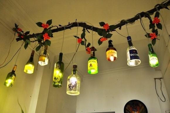 Trang trí nhà với đèn tự làm từ vật tái chế 6